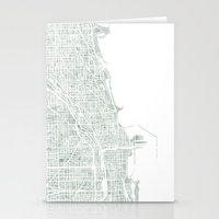 chicago map Stationery Cards featuring Map Chicago city watercolor map by Anne E. McGraw