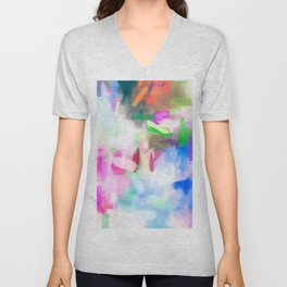 splash painting texture abstract background in pink blue green Unisex V-Neck