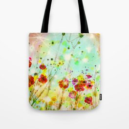 Whimsical Red Poppy Field   Tote Bag