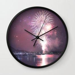 NYE Fireworks in Geelong, Victoria - Australia Wall Clock