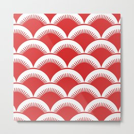 Japanese Fan Pattern Red Metal Print