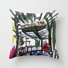 Paris Metro Sketch Chatelet Throw Pillow