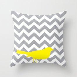 Yellow Bird on Gray Chevron Throw Pillow
