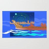 maori Area & Throw Rugs featuring Maori Canoes : Waka by Patricia Howitt