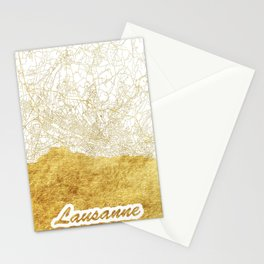 Lausanne Map Gold Stationery Cards