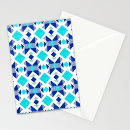 Morrocan blue tiles with marble texture Stationery Cards
