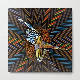 1837s-MS Abstract Colorful Zebra Stripe Nude Woman Metal Print