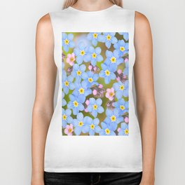 Forget-me-not flowers and buds - summer meadow Biker Tank