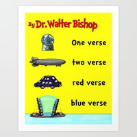 verse Art Prints featuring Fringe One Verse, Two Verse, Red Verse, Blue Verse by Passive Fluency