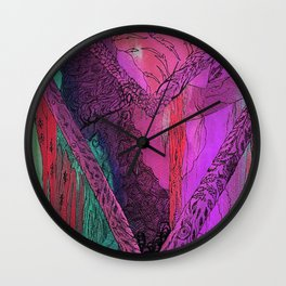 Purple Chevron Trippyness Wall Clock