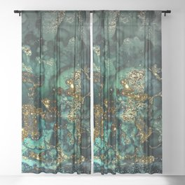 Gold Indigo Malachite Marble Sheer Curtain