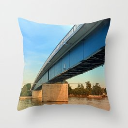 Bridge across the river Danube   architectural photography Throw Pillow