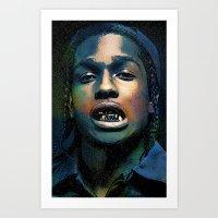 asap rocky Art Prints featuring Asap, long live Rocky by Michaëlis Moshe