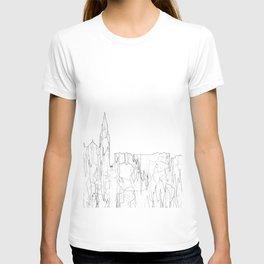 Galway, Ireland Skyline B&W - Thin Line T-shirt