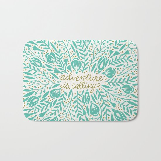 Adventure is Calling – Turquoise & Gold Palette Bath Mat