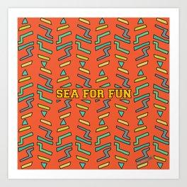Sea for fun (red) Art Print