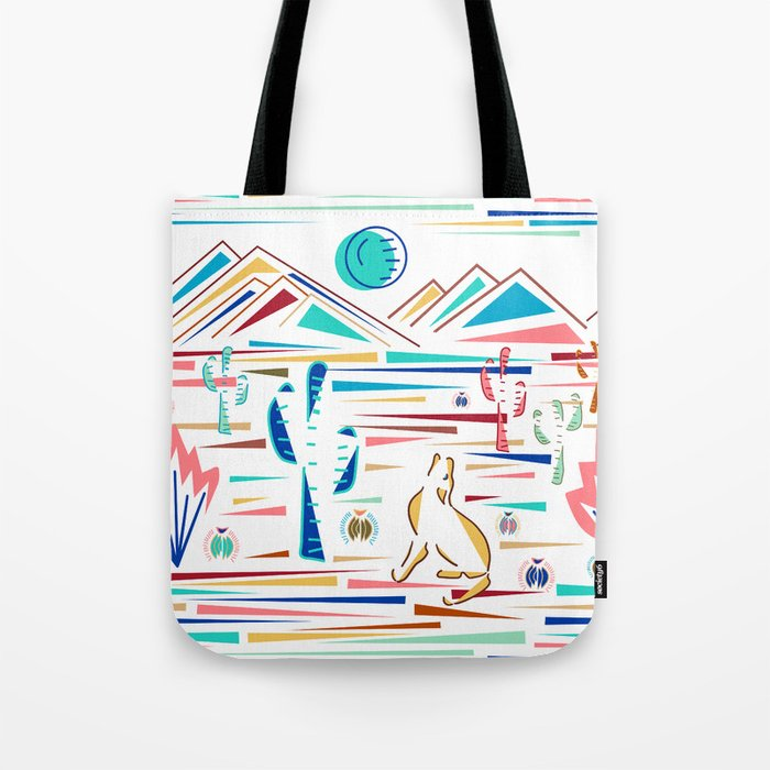 Desert High- Coyote Howls at Blue Moon Tote Bag