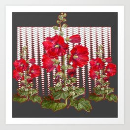 MODERN ART RED HOLLYHOCKS BOTANICAL Art Print