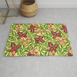 Scattered Coleus Plants Pattern - Yellow Rug