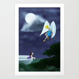 Cupid and Lover in the Moonlight Art Print