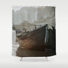 Varanasi, boat in river Ganga, India Shower Curtain