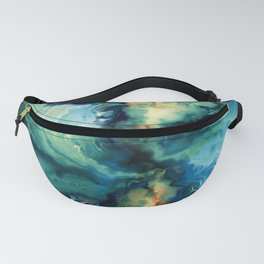 Marbled Ocean Abstract, Navy, Blue, Teal, Green Fanny Pack