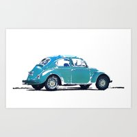 volkswagon Art Prints featuring Blue VW Bug by Regan's World