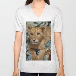 Lambert the Lion and His Blanket Unisex V-Neck