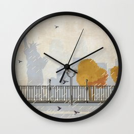 Rainy Night in Lower Manhattan  Wall Clock