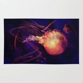 Jellyfish of the Blacklight Electro Rave Rug