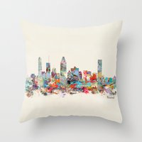 montreal Throw Pillows featuring Montreal Quebec skyline by bri.buckley