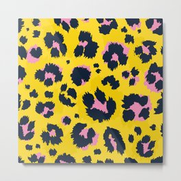 Yellow leopard with pink spots Metal Print