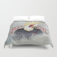 rock and roll Duvet Covers featuring ROCK & ROLL BIRD!! by TOXIC RETRO