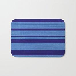 Worn Stripes: Cornflower and Navy Blues Bath Mat