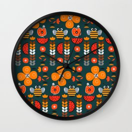 Modern decor with funny bees Wall Clock