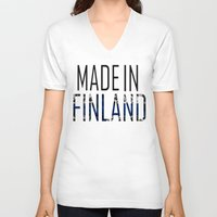 finland V-neck T-shirts featuring Made In Finland by VirgoSpice