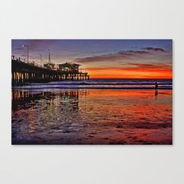 Sunset at Santa Monica Pier Canvas Print