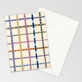 Colorful Patterned Grid Stationery Cards
