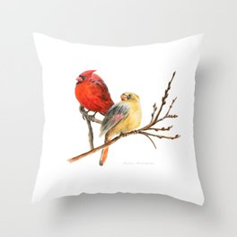 The Perfect Pair - Male and Female Cardinal by Teresa Thompson Throw Pillow