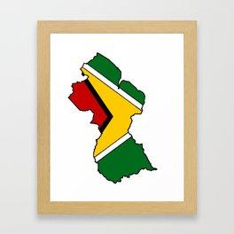 Guyana Map with Guyanese Flag Framed Art Print