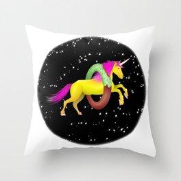 Unicorn Space Donut Throw Pillow