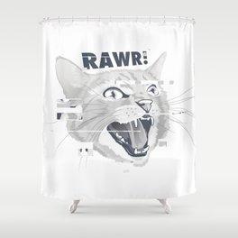 Glitch Cat Shower Curtain