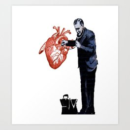 Banksy - Docter checking a heart for valentine Art Print