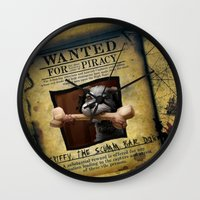 monkey island Wall Clocks featuring Monkey Island - WANTED! Spiffy, the Scumm Bar dog by Sberla