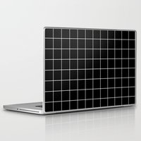 Laptop Skins featuring Black White Grid by Beautiful Homes