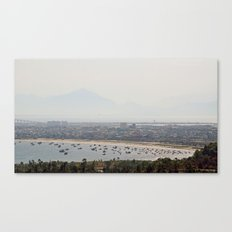 Boat Bay With Bird Canvas Print