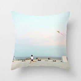 Running Beach Throw Pillow