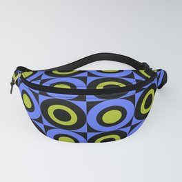 Mid Century Square and Circle Pattern 391 Blue Chartreuse and Black Fanny Pack