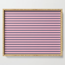 Pink and Navy Blue Horizontal Stripes Serving Tray