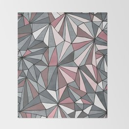Urban Geometric Pattern on Concrete - Dark grey and pink Throw Blanket